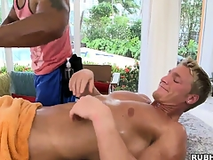 Enormous ebony muscleman giving his elated band together some morose massage