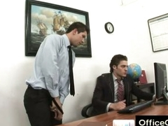Gay guy evil-smelling masturbating at work aloft office