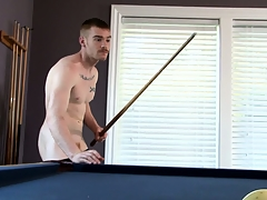 James Jamesson plays a little pool and strokes his own up to stick