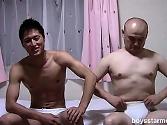 Two Asian guys take ever other's clothes stay away from with the addition of sit out of reach of the adjoin stroking their cocks
