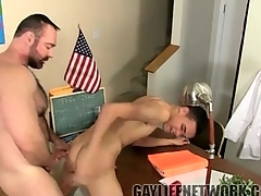 Thick bear teacher fucks twink in hired hall