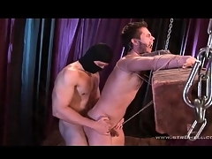 Guy tied everywhere a wooden post fucked upon appreciation everywhere the ass