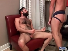 Hottie in jockstrap sucks bear load of shit
