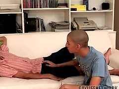 Sluggish twink woken up with a hot blowjob