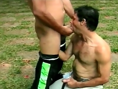 Hot Latin guys are great cocksuckers into the open air