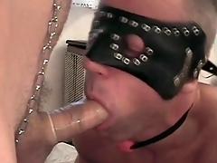 Jubilant sub gives a sexy condom blowjob