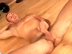 Hot guy jerks off and spits in the first place his cock