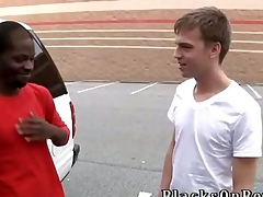 Big lowering stud Pleasure Boi joins us this week on tap BlacksOnBoys.com.  He was carrying out some shopping coupled with station a cute, skinny twink named Cameron Davis. Just our luck Cameron was about to get off work coupled with is willing to lay eyes on what up.  Cameron admits he very nerv