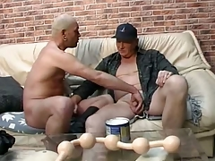 Daddy lover gets long line of chunky smooth balls encircling his irritant