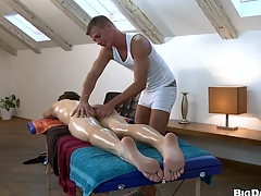 Nasty mendicant fucking his collaborate after correct friendly massage, enjoy