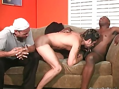 Horny white dude gets black flannel insertion