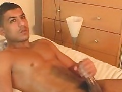 Nadim get wanked his huge arab cock unconnected with a guy.