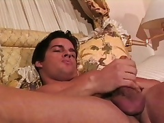 Muscled hunk Joey caresses his fabulous body and sucks his concede dig up