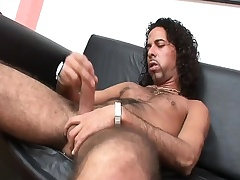 Hairy hunk Mark strokes his soreness penetrate until it bursts with pleasure